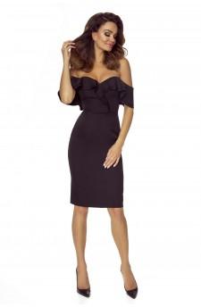 110-04 Cloe zmysłowa sukienka ze zmysłowym dekoltem i opadającymi ramionami (czarna)