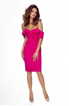 110-02 Cloe zmysłowa sukienka ze zmysłowym dekoltem i opadającymi ramionami (ciemny róż)