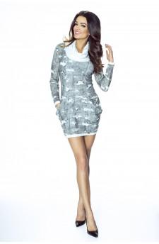 08-01 Sukienka dzienna z obszernymi kieszeniami (przecierany jeans)