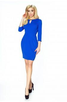 29-01 Camilla – sukienka ołówkowa z zaszewkami modelującymi sylwetkę (chaber)
