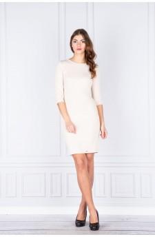 27-03 Eleonora – sukienka z dekoltem eksponującym plecy (jasny beż)