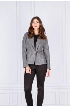 26-04 - Short jacket with asymmetrical buckle (dark grey)