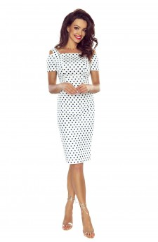 85-02 Roxi comfy everyday dress (WHITE IN NAVY PEAS)