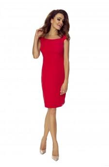102-01 Lara- elegancka sukienka, podkreślająca figurę (czerwona)