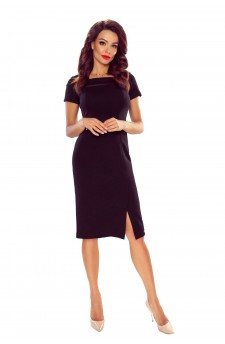 86-02elegant dress with mesh insertion (black)