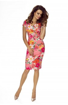 107-09 Alice dress to office ( flowers on dark pink)