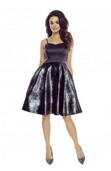 127-01 Alessia rozkloszowana sukienka na ramiączkach z błyszczącym dołem (czarna)