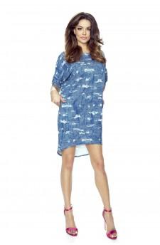 09-15 MONICA – sukienka dzienna przysłaniająca niedoskonałości (niebieski przetarcia)