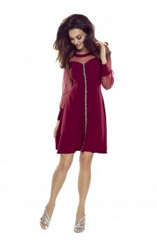 Rozkloszowana sukienka z tiulowymi rękawami i kolorowym lampasem z przodu