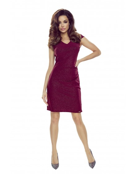 Brocade dress with shirring at the waist