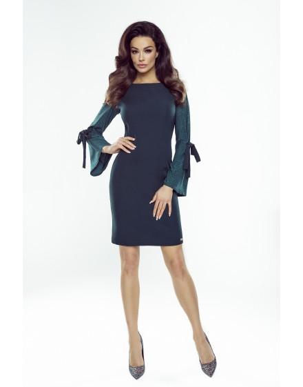 132-01 Lauren sukienka z wiązanymi brokatowymi rękawami (bordo)