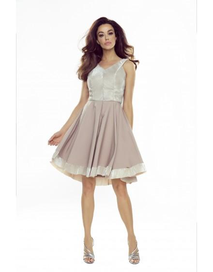 Shiny dress with V-neck and flared bottom