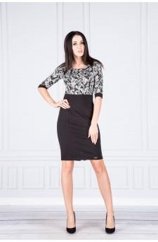 38-01 Danusia – elegancka sukienka z kontrastową górą (wzór)
