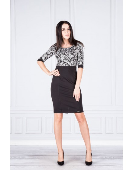 38-01 - DANUSIA - elegant dress with contrast upper (pattern)