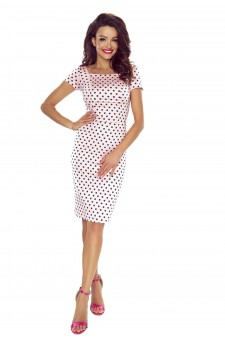 87-04 Paula wygodna sukienka dzienna (RÓŻ W GRANATOWE KROPKI)