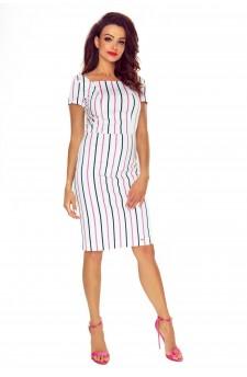 87-10 Paula wygodna sukienka dzienna (biała w różowo granatowe paski)