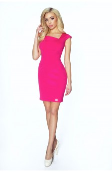 14-04 - RUSLANA - dress with asymmetric flap in the neckline in the shape of a diamond (pink)