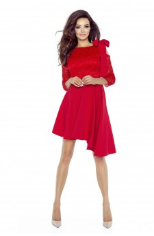 78-05 NEVA asymmetric dress with a lace-based top (RED)