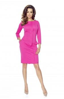 47-02 ZITA – elegancka sukienka z plisą (malina)