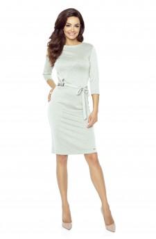 77-01 PPEPPI elegant dress with a matching belt (Light Grey)