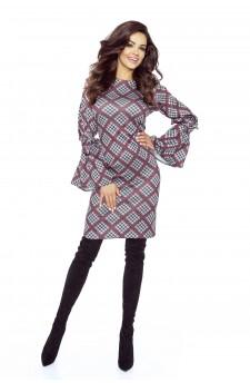 76-02 SOLEO uniwersalna i bardzo wygodna sukienka (KRATA CZERWONA DROBNA)