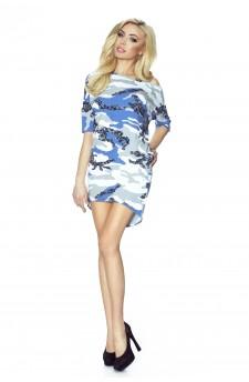 09-04 Monica – sukienka dzienna przysłaniająca niedoskonałości (biało-niebieskie moro)
