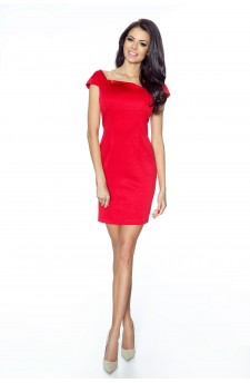 14-01 - RUSLANA - dress with asymmetric flap in the neckline in the shape of a diamond (red)