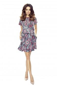 63-01 VIKI – bardzo wygodna sukienka rozkloszowana (słoneczniki)
