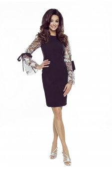 70-17 OLGA sukienka z wiązanymi rękawami (czarna, koronkowy rękaw)