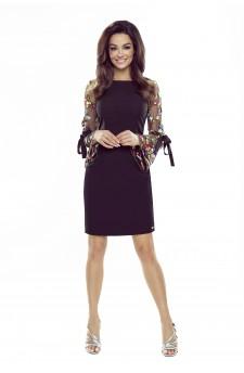 70-16 OLGA sukienka z wiązanymi rękawami (czarna, koronkowy rękaw)