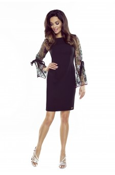 70-18 OLGA sukienka z wiązanymi rękawami (czarna, koronkowy rękaw)