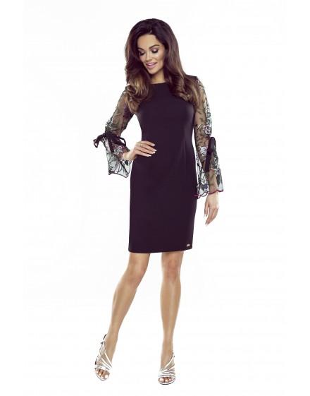 70-17 OLGA dress with tied sleeves (black,