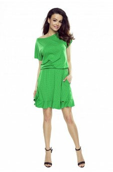 63-16 VIKI comfortable everyday flared dress (green with black dots)