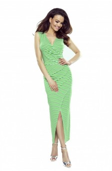 108-07 Marina dress with an asymmetric draping (green stripes)