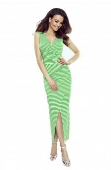 108-07 Marina Sukienka z asymetrycznym drapowaniem (zielona w paski)