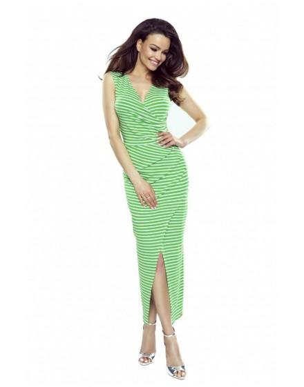 108-07 Marina dress with an asymmetric draping (green stripes)
