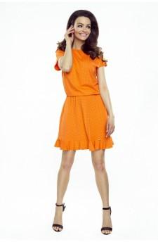 63-14 VIKI – bardzo wygodna sukienka rozkloszowana (pomarańczowa w kropki)