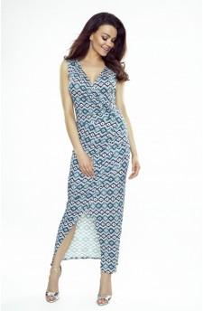 108-04 Marina Sukienka z asymetrycznym drapowaniem (geometryczny wzór)