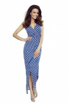 108-05 Marina Sukienka z asymetrycznym drapowaniem (niebieska w białe grochy)