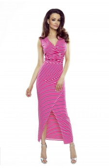 108-08 Marina dress with an asymmetric draping (pink stripes)
