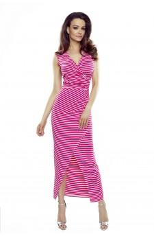 108-08 Marina Sukienka z asymetrycznym drapowaniem (różowa w paski)