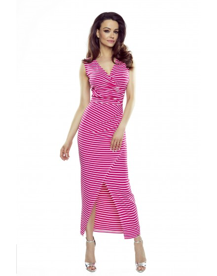 108-08 Marina dress with an asymmetric draping (pink stripes)