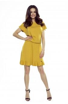 63-15 VIKI – bardzo wygodna sukienka rozkloszowana (żółta w kropki)