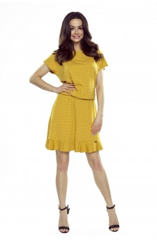 63-15 VIKI comfortable everyday flared dress (yellow with black dots)