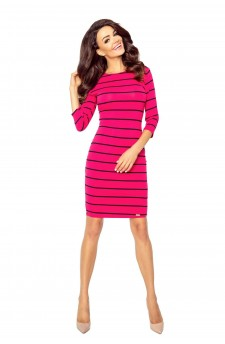 Fitted dress in stripes with a neckline at the back
