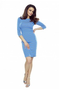 27-28 - Eleonora dress with neckline on the back (blue with stripes)