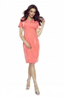 55-10 ESTERA – elegant dress with a wavy crease (salmon)