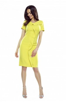 55-09 ESTERA – elegancka sukienka z falującą plisą (limonka)