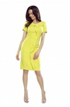 55-09 ESTERA – elegant dress with a wavy crease (lime)