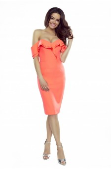 110-06 Cloe sensual dress with a sensual neckline and falling shoulders (orange)